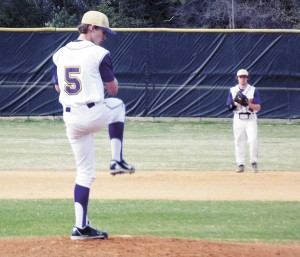 Anderson Bailey prepares to pitch for the Bainbridge High School junior-varsity team, while Dustin Strickland sets up on defense at second base, during the Bearcats' 3-2 loss to Thomas County Central on Tuesday. | Submitted photo