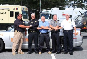 Standing united against DUI and other traffic violations during the upcoming Labor Day weekend are, from the left, Bainbridge State College Chief of Police James Spooner; Havana, Fla., Chief Tracy Smith; Climax, Ga., Chief  Johnny Pricilla; Bainbridge Public Safety Director Eric Miller and Attapulgus, Ga., Chief James Earl Spooner.