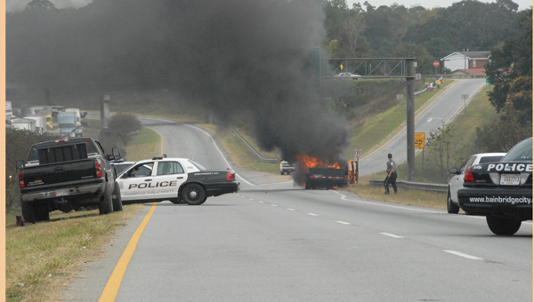 Lanes closed during Halloween traffic Thursday due to a truck catching fire and causing a small explosion. Fire officials were on scene but ran out of water while putting out the flames. No one was injured. Powell Cobb