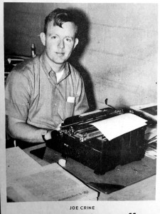 Joe Crine smiles by his typewriter during his first week at The Post-Searchlight in April 1970.