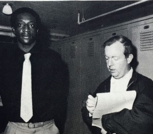 Joe Crine takes down some comments from Bainbridge native and Auburn Tiger forward Benny Anthony in the locker room in Tully Gym at Tallahassee. Published Wednesday, Feb. 6, 1980.